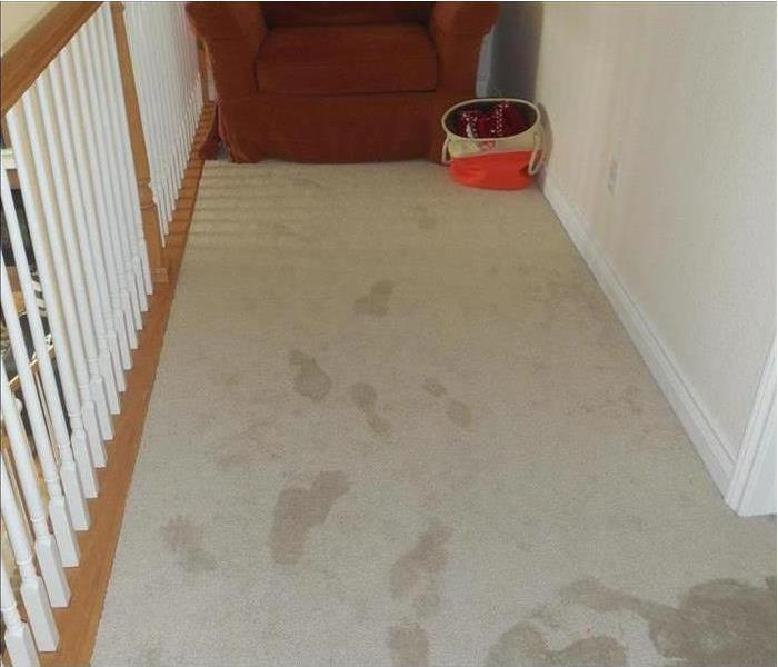 hall with wet carpet