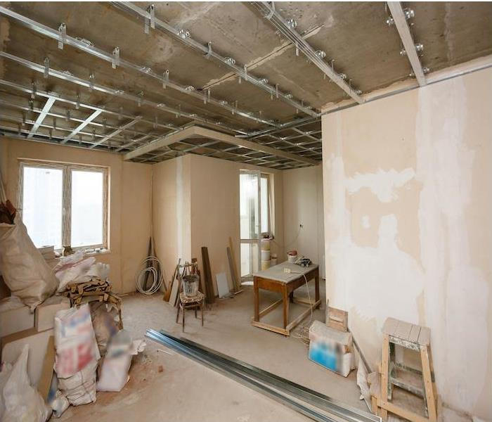 Apartment with exposed, unfinished sheetrock